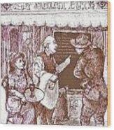 Cafe Menu Wood Print by Herb Russel