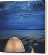 Camping Tent By The Lake At Night Wood Print by Jill Battaglia