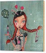 Candy Girl  Wood Print by Caroline Bonne-Muller