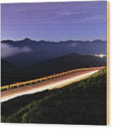 Car Light Trails And Star Trails At Night Wood Print by Samyaoo