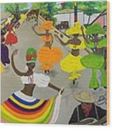 Carnival In Port-au-prince Haiti Wood Print by Nicole Jean-Louis