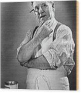 Carpenter Posing In Studio, (b&w) Wood Print by George Marks