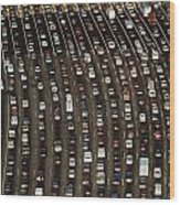 Cars Queue Up At A Tollbooth On The Bay Wood Print by James A. Sugar