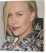 Charlize Theron At In-store Appearance Wood Print by Everett