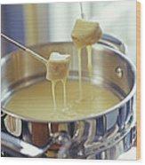 Cheese Fondue Wood Print by David Munns