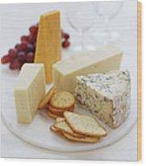 Cheese Selection Wood Print by David Munns