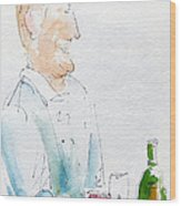 Chef In Action Wood Print by Pat Katz