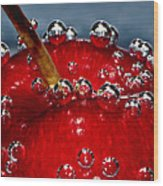 Cherry Bubbles Under Water Wood Print by Tracie Kaska