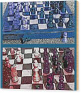 Chess Board - Game In Progress Diptych Wood Print by Steve Ohlsen