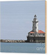 Chicago Harbor Light Wood Print by Christine Till