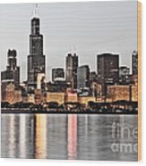 Chicago Skyline At Dusk Photo Wood Print by Paul Velgos