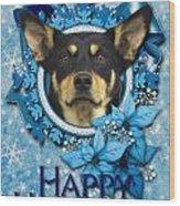 Christmas - Blue Snowflakes Australian Kelpie Wood Print by Renae Laughner