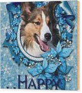 Christmas - Blue Snowflakes Sheltie Wood Print by Renae Laughner