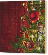 Christmas Tree Detail Wood Print by Carlos Caetano