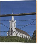 Church And Barbed Wire Wood Print by Garry Gay