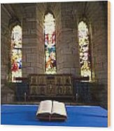 Church And Open Bible, Holy Island Wood Print by John Short