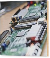 Circuit Board Components Wood Print by Arno Massee