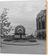 Citi Field In Black And White Wood Print by Rob Hans
