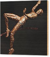 Citius Altius Fortius Olympic Art High Jumper On Black Wood Print by Adam Long