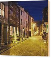 City Street At Night, Staithes Wood Print by John Short