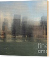 City View Through Window Wood Print by Catherine Lau