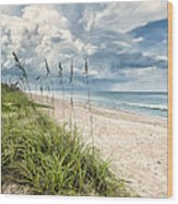 Clouds Over The Ocean Wood Print by Cheryl Davis