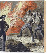 Coal Mine Fire, 19th Century Wood Print by Sheila Terry