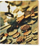 Coins Wood Print by HD Connelly