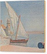 Collioure Les Balancelles Wood Print by Paul Signac