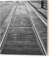 Completed Tram Rails On Princes Street Edinburgh Scotland Uk United Kingdom Wood Print by Joe Fox