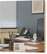 Computer Monitor And Office Space Wood Print by Andersen Ross