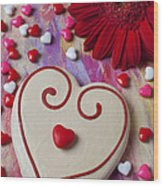 Cookie And Candy Hearts Wood Print by Garry Gay