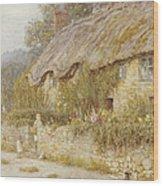 Cottage Near Wells Somerset Wood Print by Helen Allingham