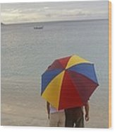 Couple Holding Umbrella On Beach Wood Print by Barry Tessman