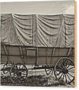 Covered Wagon Sepia Wood Print by Steve Harrington