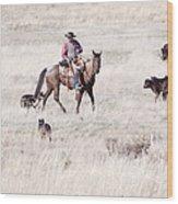 Cowboy Wood Print by Cindy Singleton