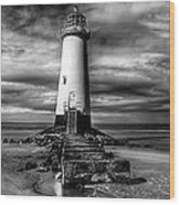 Crooked Lighthouse Wood Print by Adrian Evans