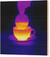 Cup Of Tea, Thermogram Wood Print by Tony Mcconnell
