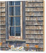 Daisies And Daylilies Wood Print by Verena Matthew