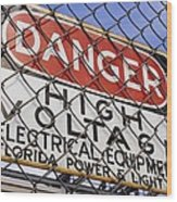 Danger High Voltage Sign In Cocoa Florida Wood Print by Mark Williamson