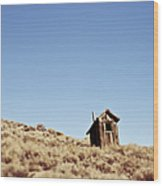 Dilapidated Outhouse On Hillside Wood Print by Eddy Joaquim
