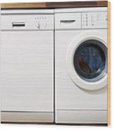 Domestic Dishwasher And Washing Machine Wood Print by Johnny Greig