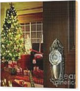 Door Opening Into A Christmas Living Room Wood Print by Sandra Cunningham