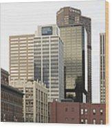 Downtown Office Buildings Wood Print by Roberto Westbrook
