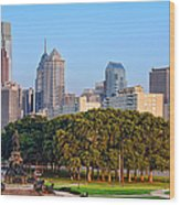 Downtown Philadelphia Skyline Wood Print by Olivier Le Queinec