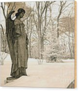 Dreamy Surreal Angel Sepia Nature Scene Wood Print by Kathy Fornal
