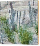 Dune Fences At Cape Hatteras National Seashore Wood Print by Anne Kitzman