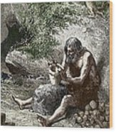 Early Human Making Pottery Wood Print by Sheila Terry