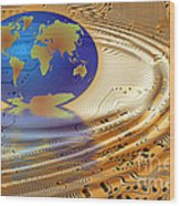 Earth In The Printed Circuit Wood Print by Michal Boubin