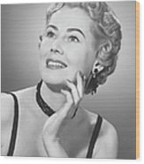 Elegant Woman Posing In Studio, (b&w), Portrait Wood Print by George Marks